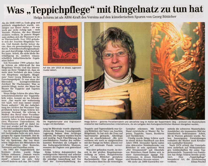 Auf den Spuren von Georg Bötticher in der Teppichfabrik Wurzen